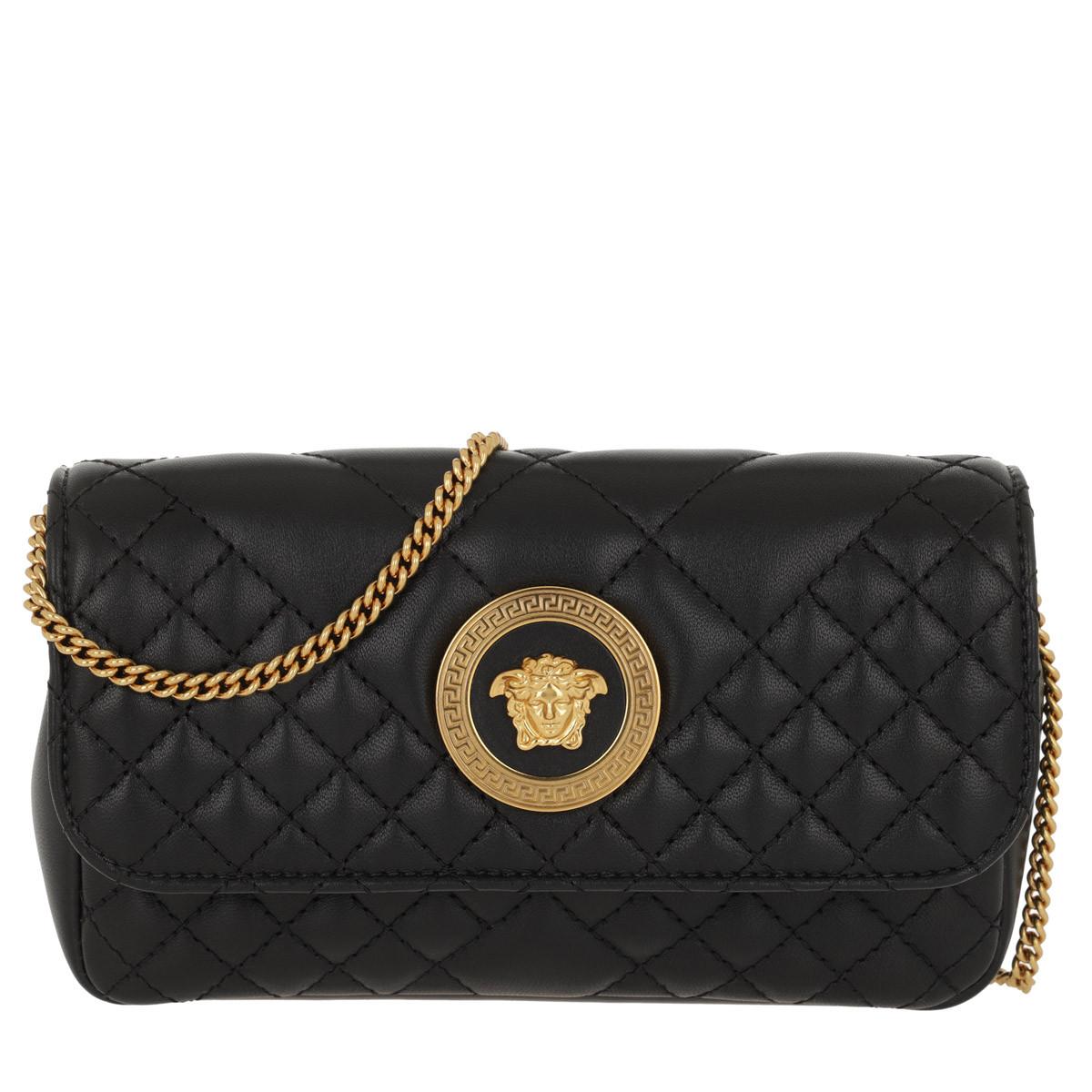 Versace Umhängetasche - Quilted Crossbody Bag Nero/Oro - in schwarz - für Damen