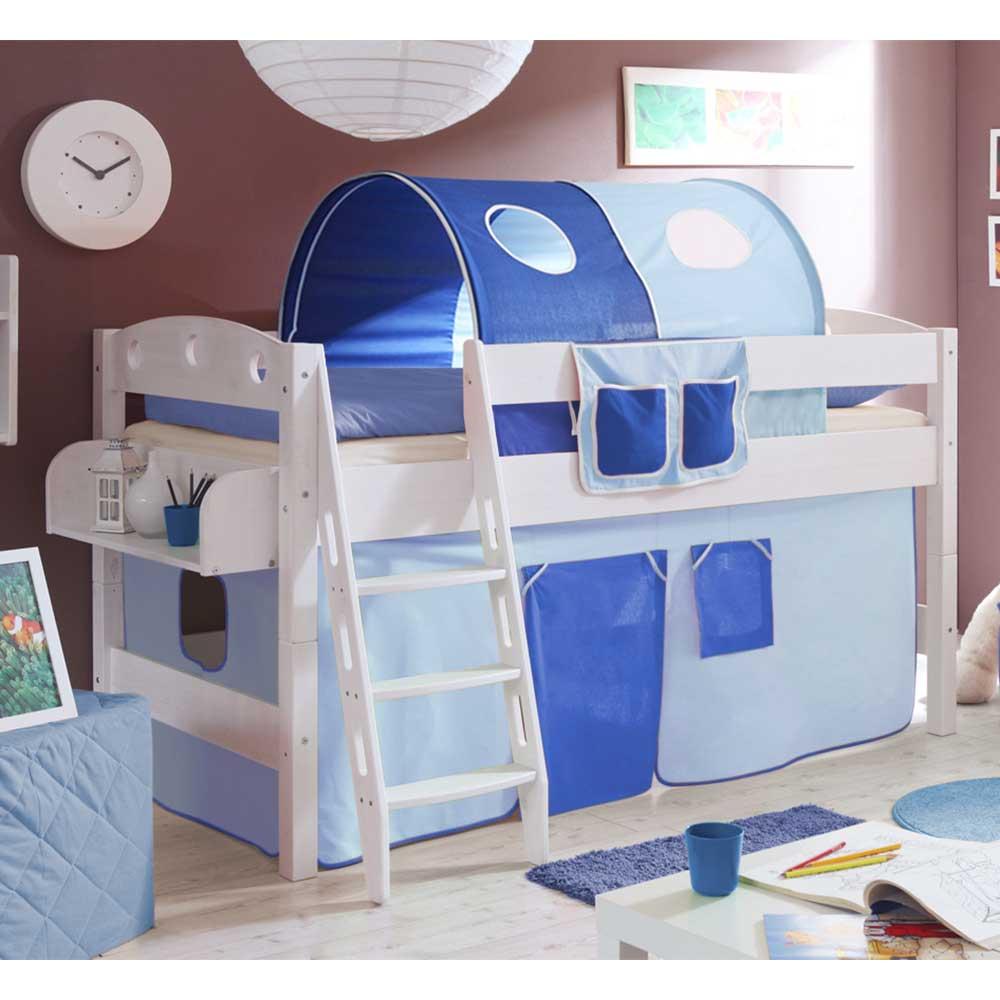 Vorhang Hochbett in Blau und Weiß Jungs