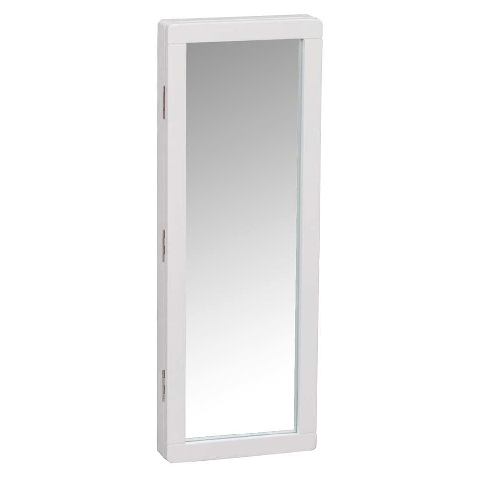 Weißer Schlüsselkasten aus Birke Massivholz Spiegel