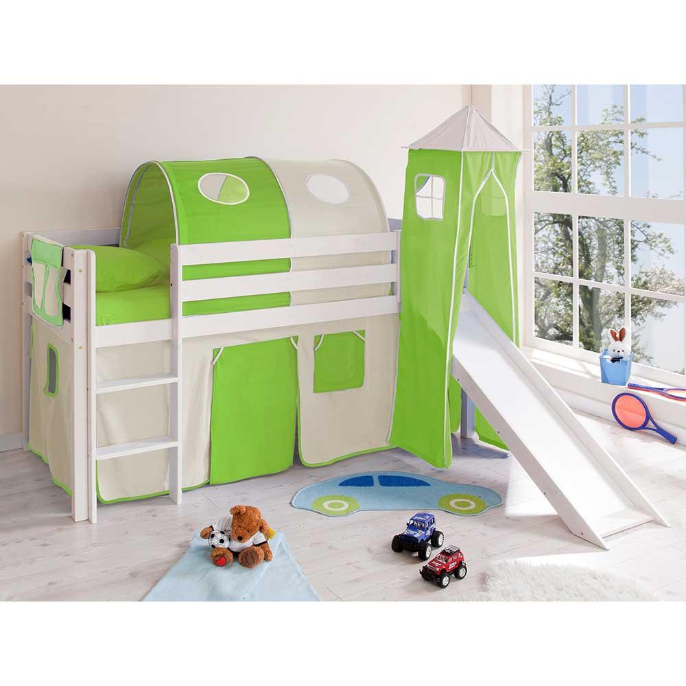 Weißes Kinder Hochbett mit Rutsche Turm in Grün Beige