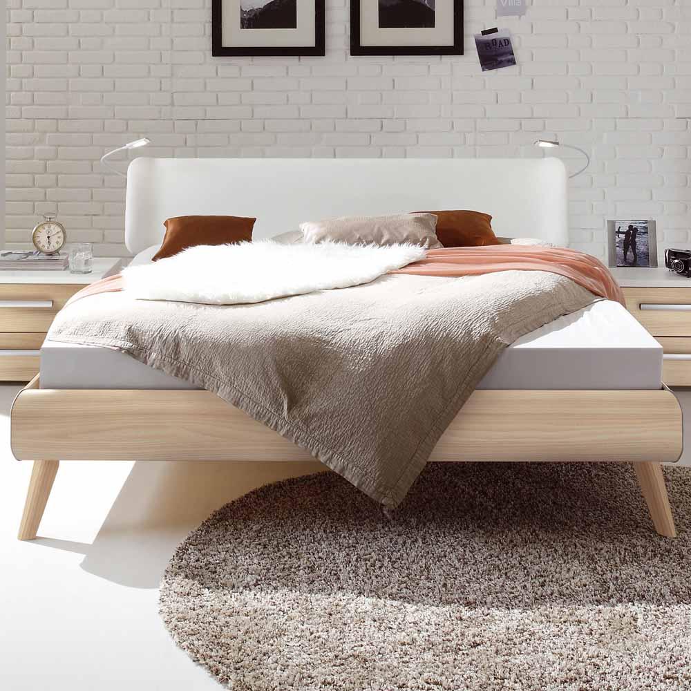 Bett in Esche Weiß Polsterkopfteil