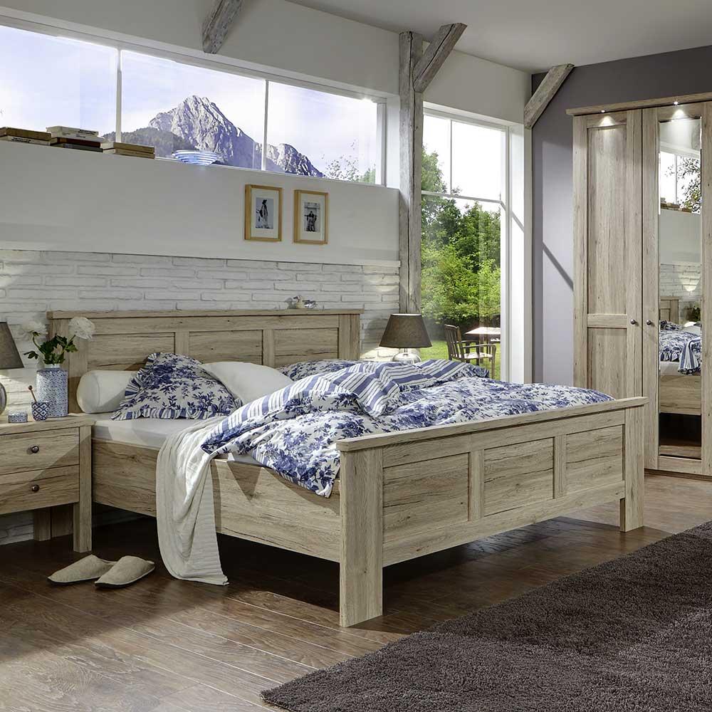 Schlafzimmer Bett in Eiche Komforthöhe