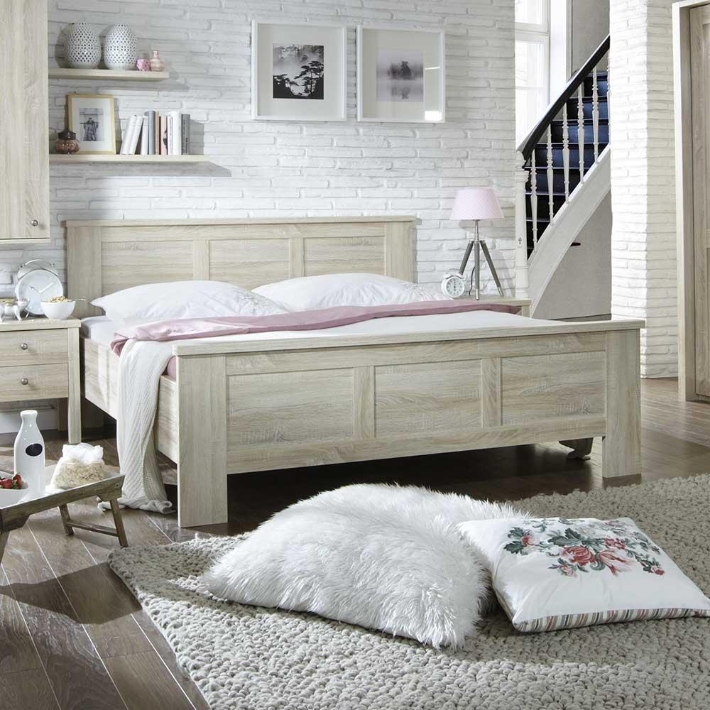 Schlafzimmer Bett in Eiche Sägerau Komforthöhe
