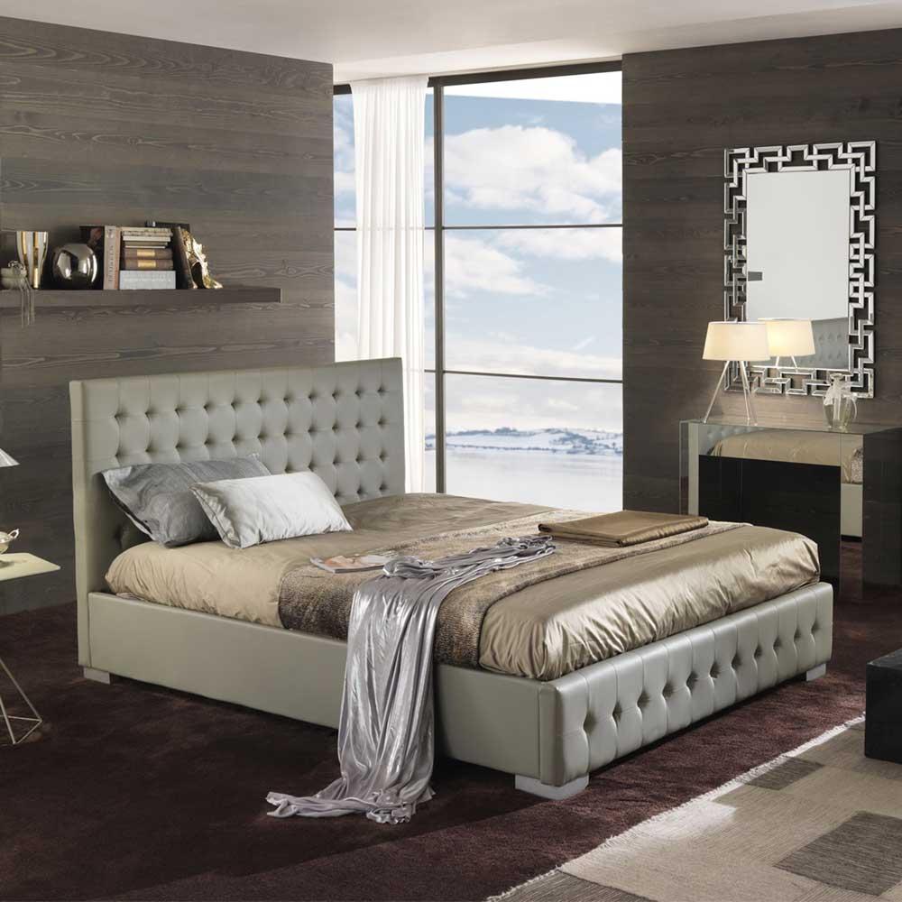 Schlafzimmer Bett in Grau gesteppt Kunstleder