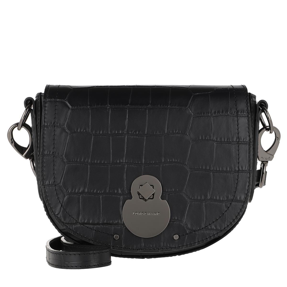Longchamp Umhängetasche - Cavalcade Croco Bag Black - in schwarz - für Damen