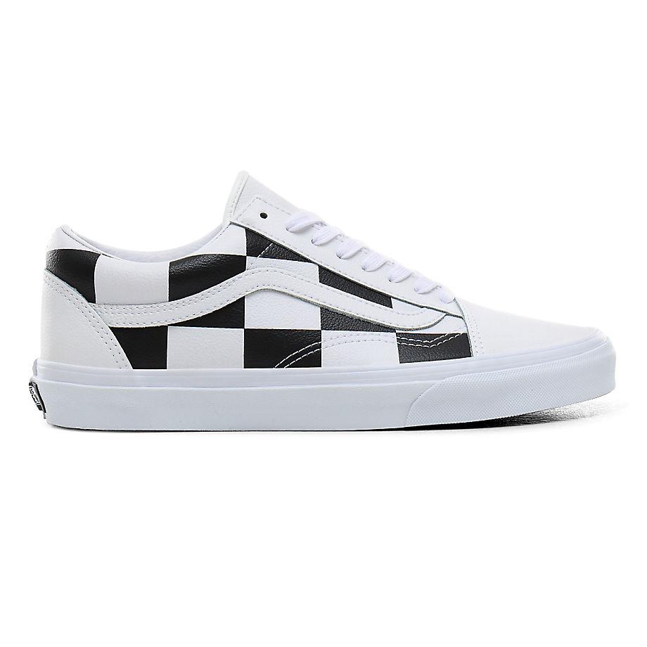 VANS Check Old Skool Schuhe Aus Leder ((leather Check) True White/black) Damen Weiß, Größe 34.5