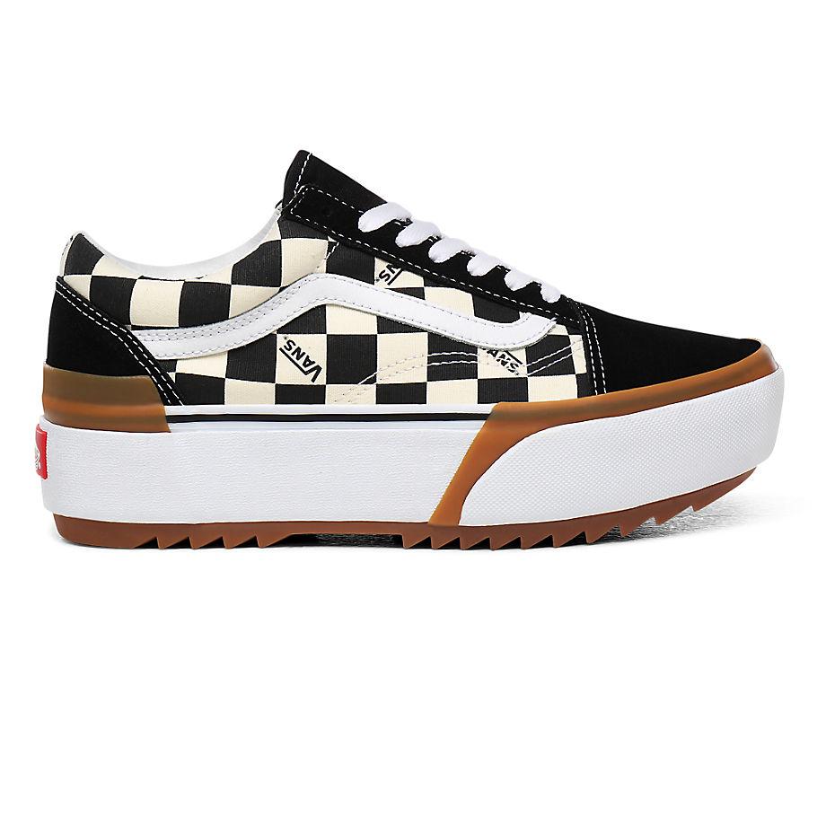 VANS Checkerboard Old Skool Stacked Schuhe ((checkerboard) Multi/true White) Damen Weiß, Größe 36