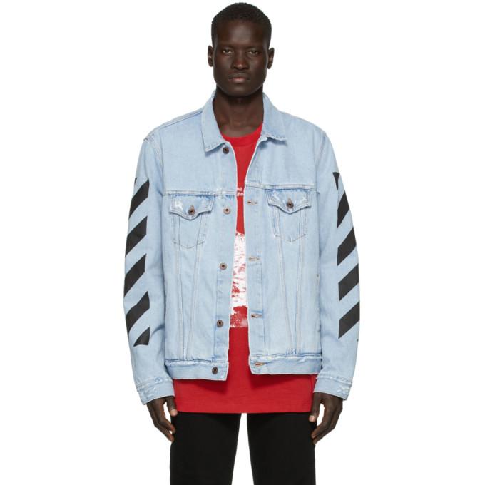 Off-White SSENSE Exclusive Blue Denim Temperature Jacket