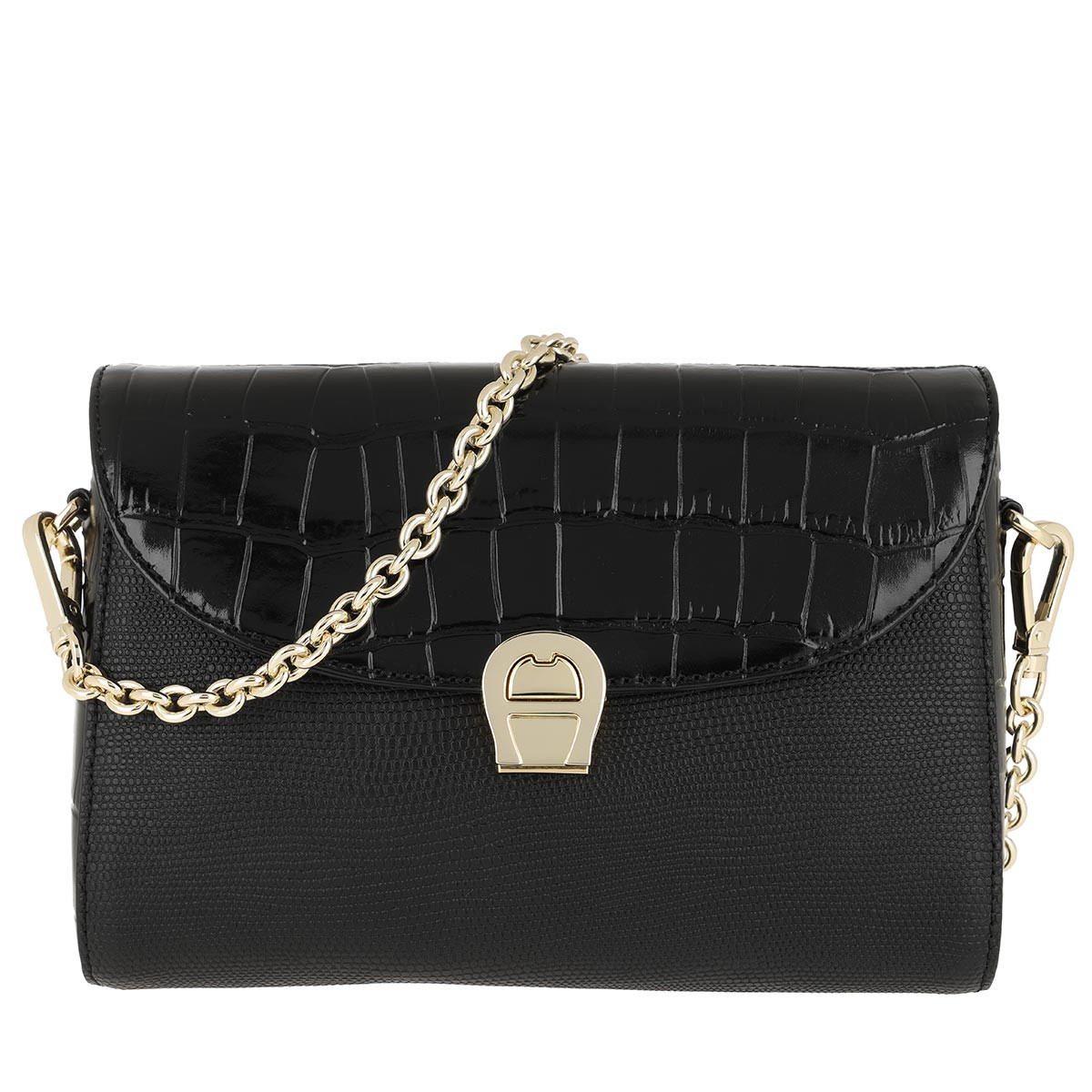 Aigner Umhängetasche - Crossbody Bag Genoveva Croco Black - in schwarz - für Damen