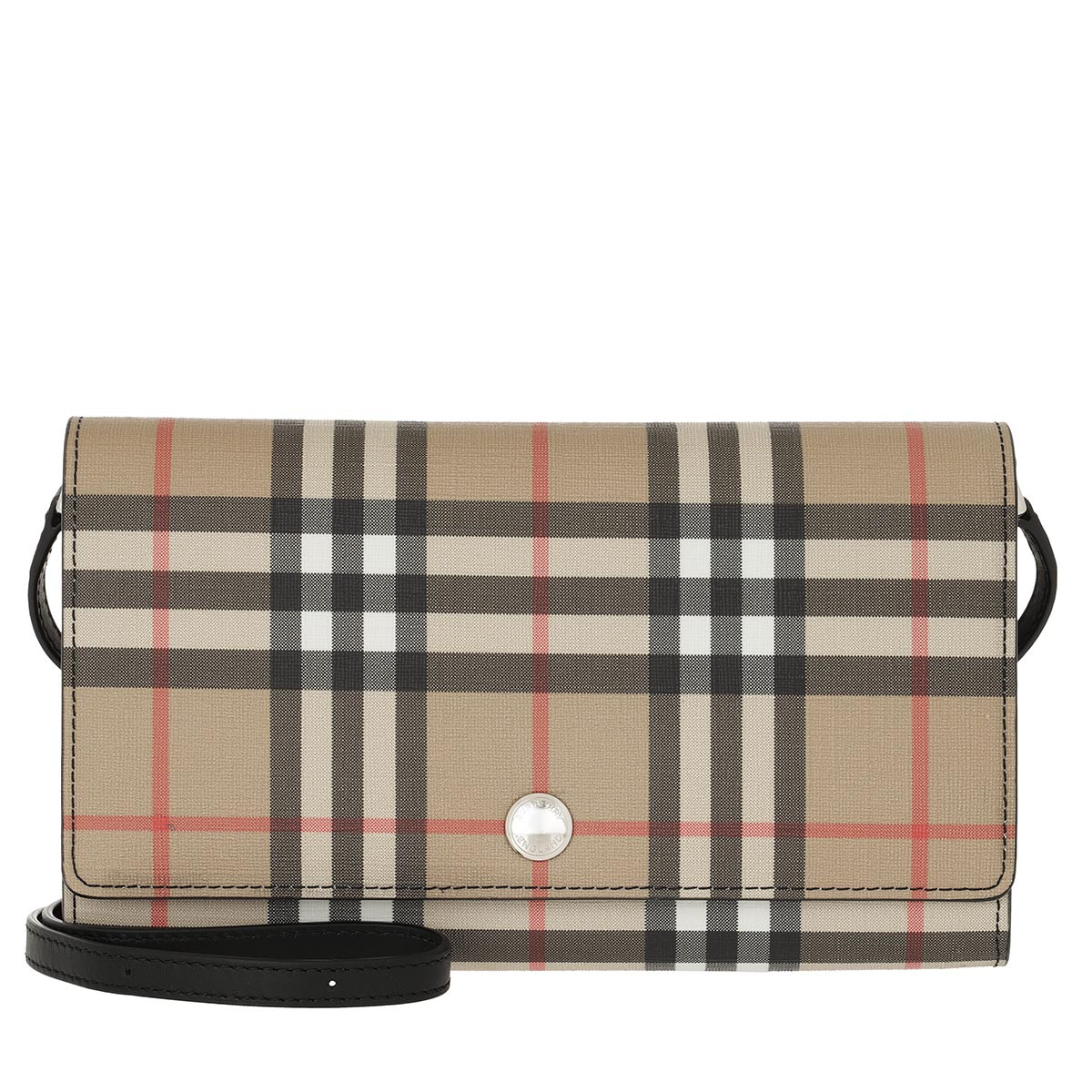 Burberry Umhängetasche - Hannah Wallet On Chain Vintage Check Black - in beige - für Damen