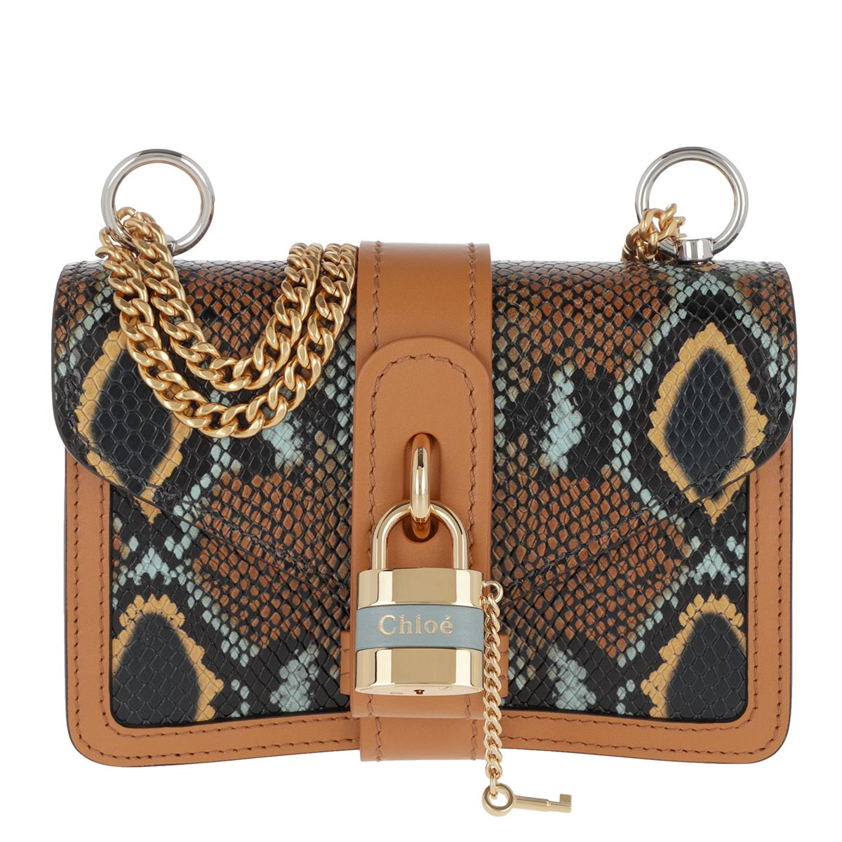 Chloé Umhängetasche - Aby Shoulder Bag Snake Printed Leather Faded Blue - in cognac - für Damen