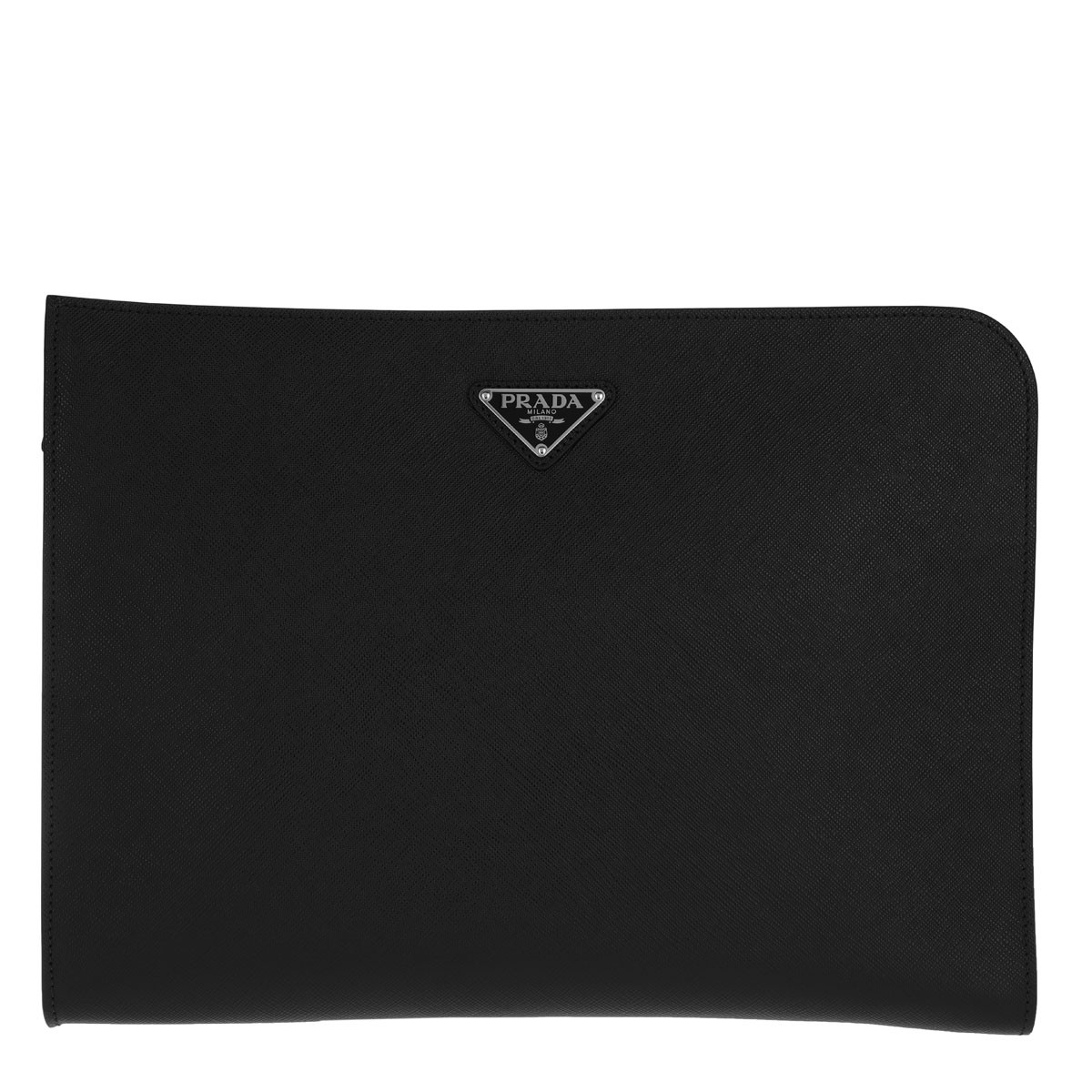 Prada Herrentasche - Business Clutch Triangle Logo Leather Black - in schwarz - für Damen