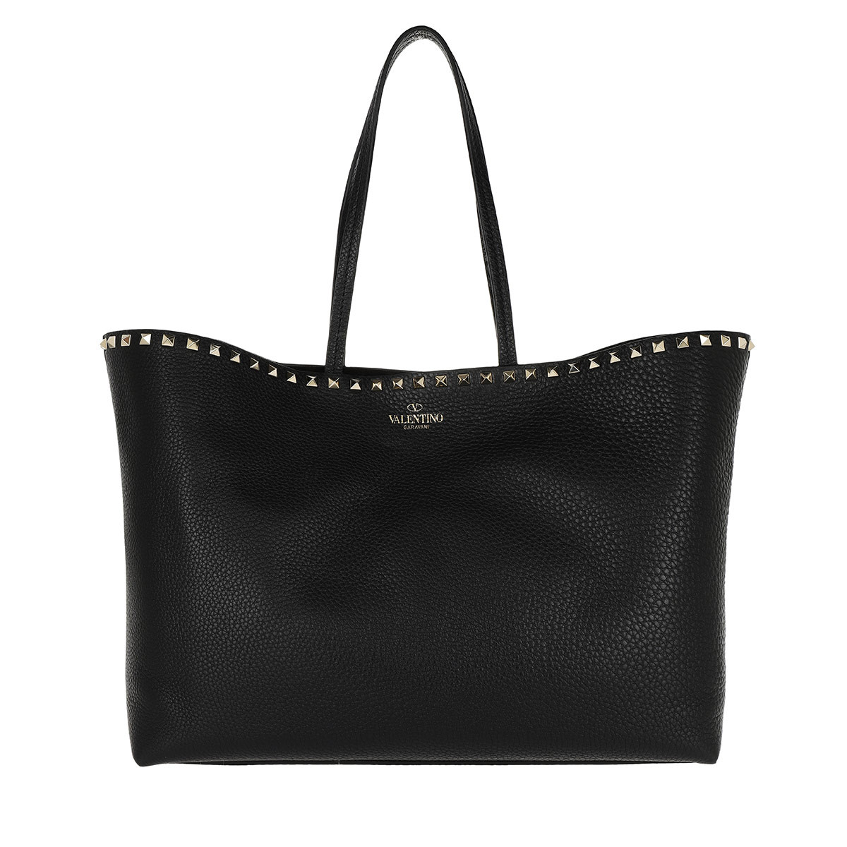 Valentino Shopper - Rockstud Studded Shopping Bag Leather Black - in schwarz - für Damen