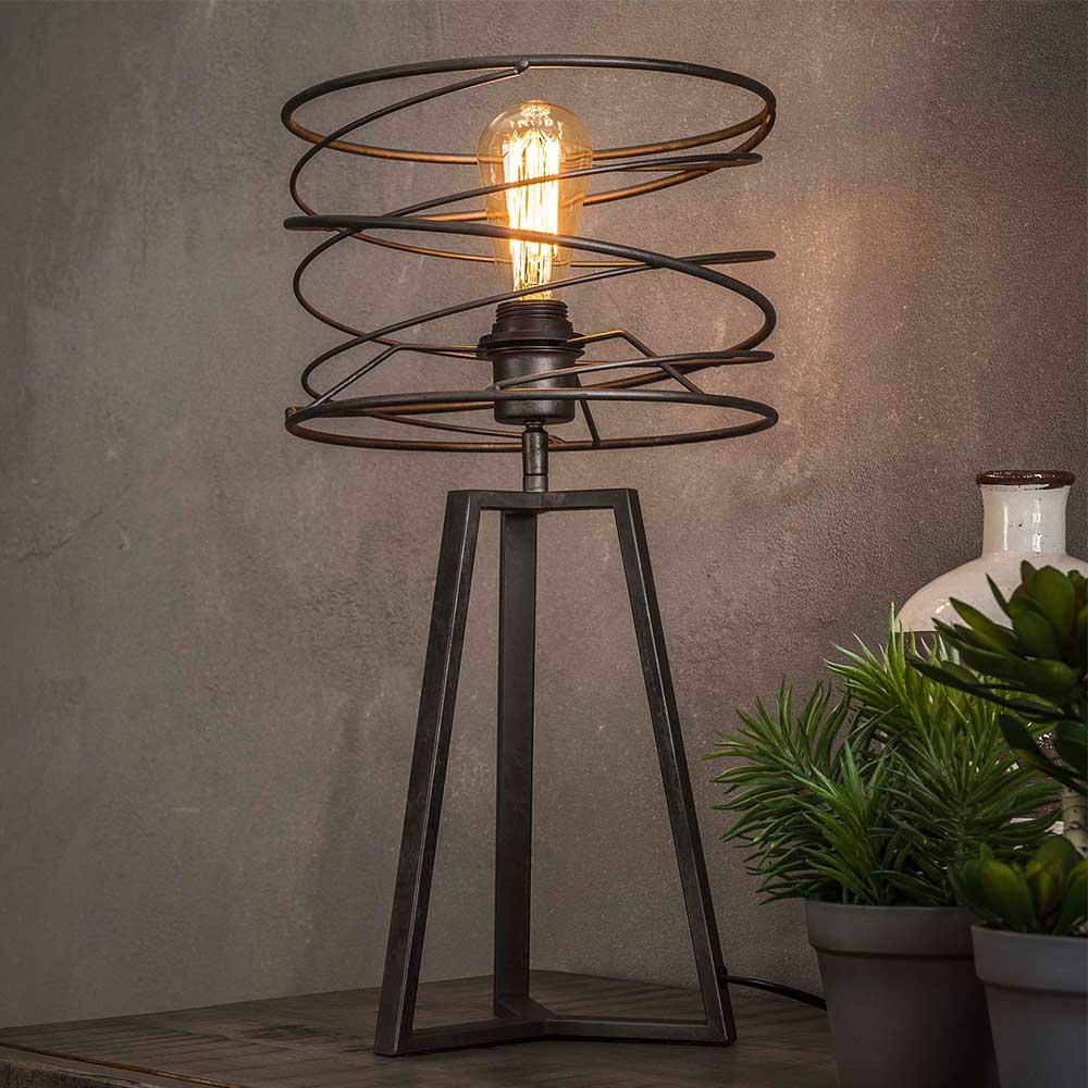 Design Tischlampe in Anthrazit spiralförmig