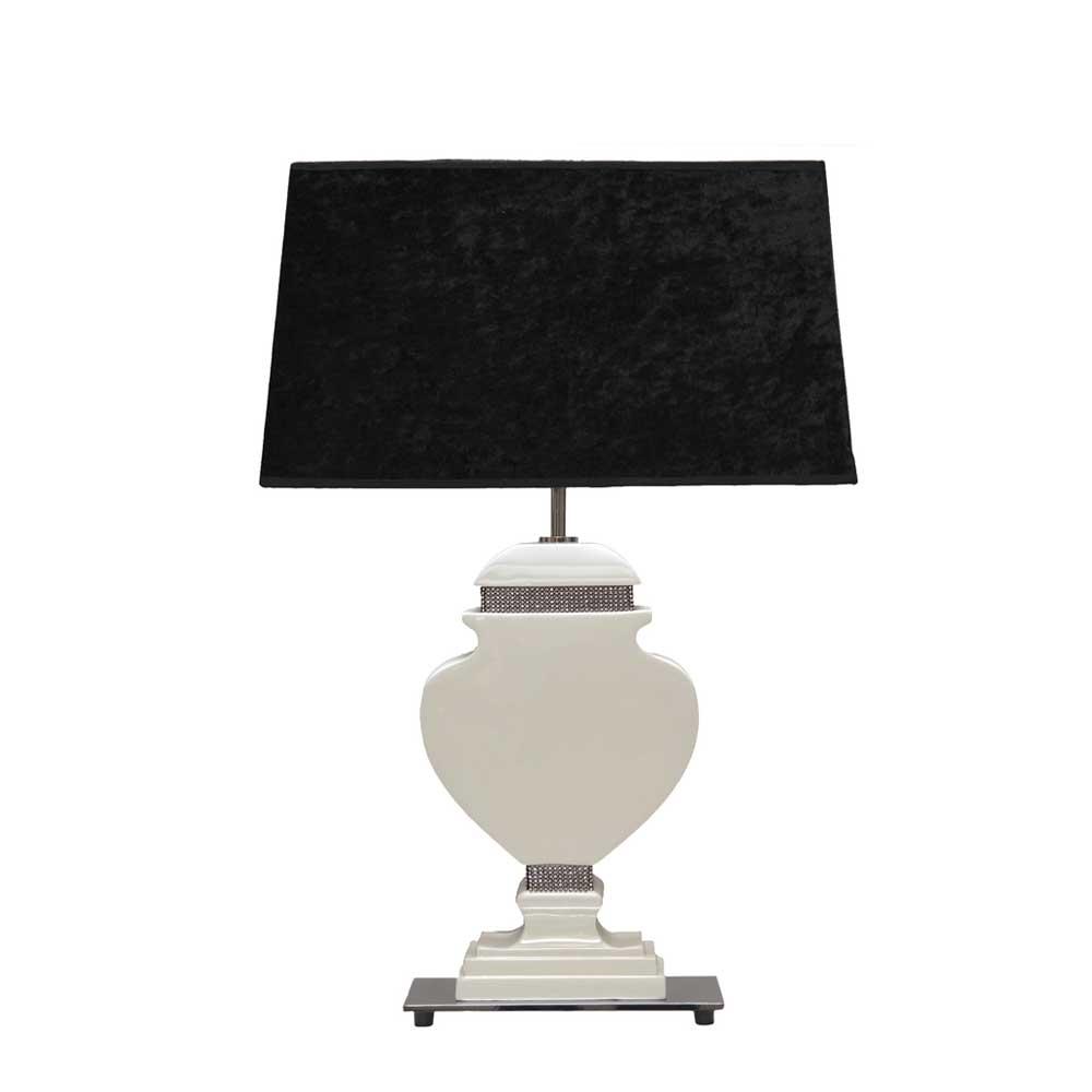 Design Tischleuchte in Schwarz Weiß Glitzer