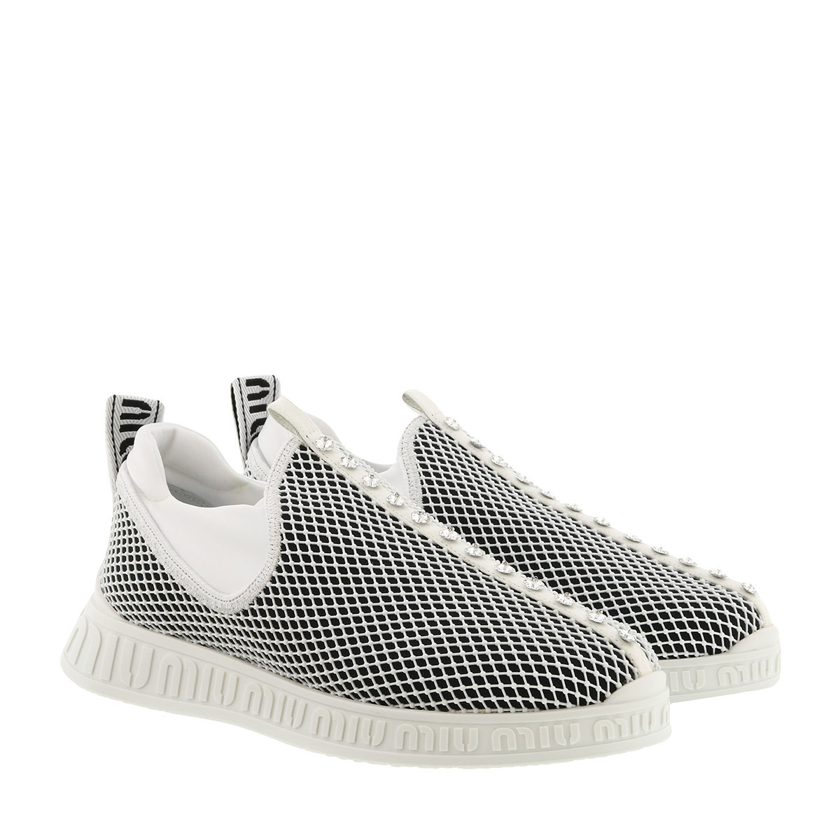 Miu Miu Sneakers - Low Top Sneaker Knit Black/White - in weiß - für Damen