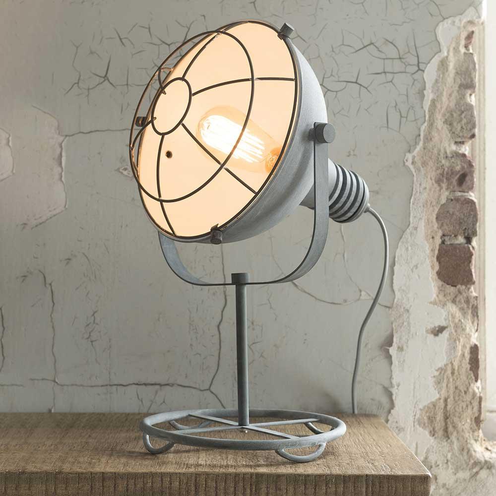 Scheinwerfer Tischlampe im Industriedesign Beton Grau