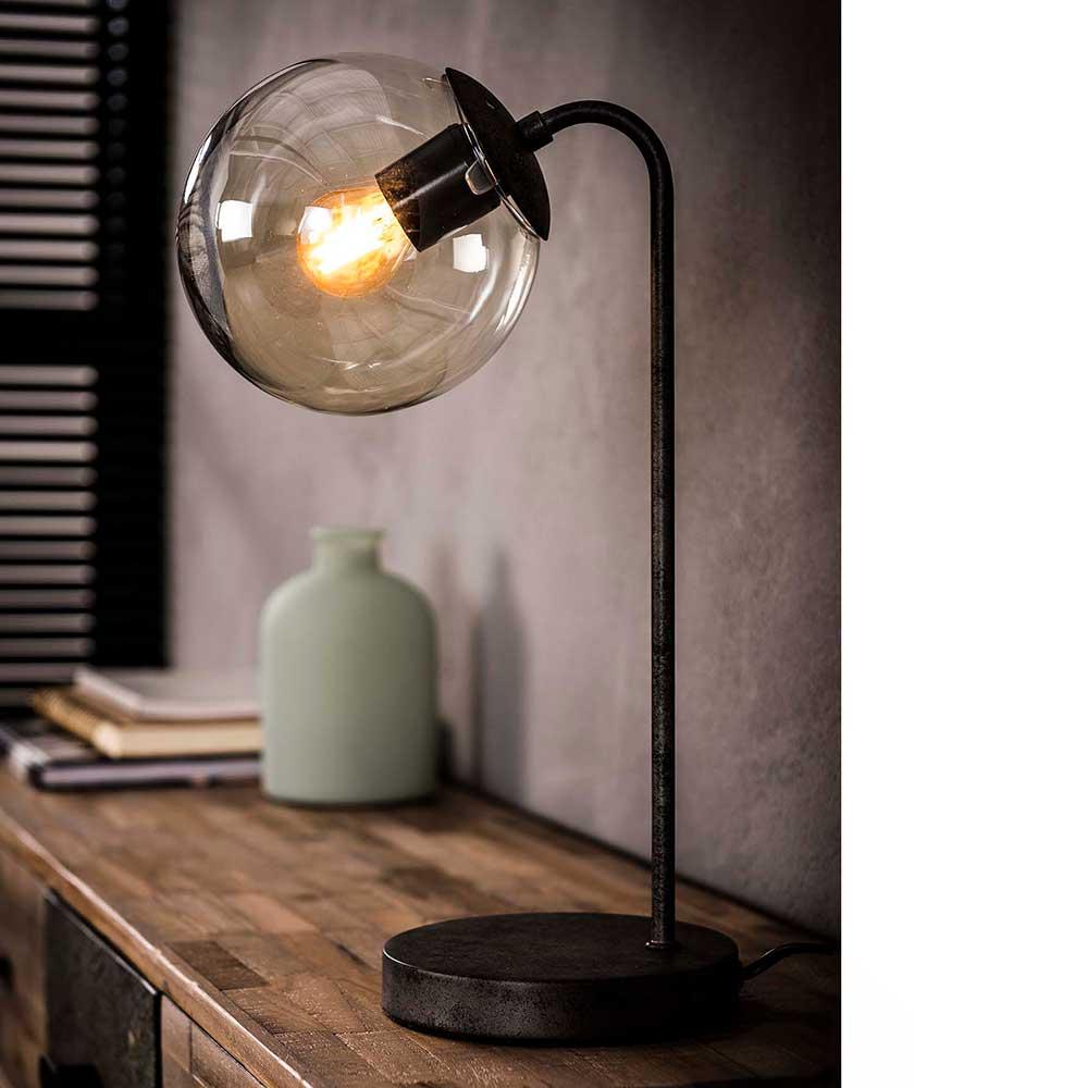 Tischlampe in Anthrazit Glas und Metall