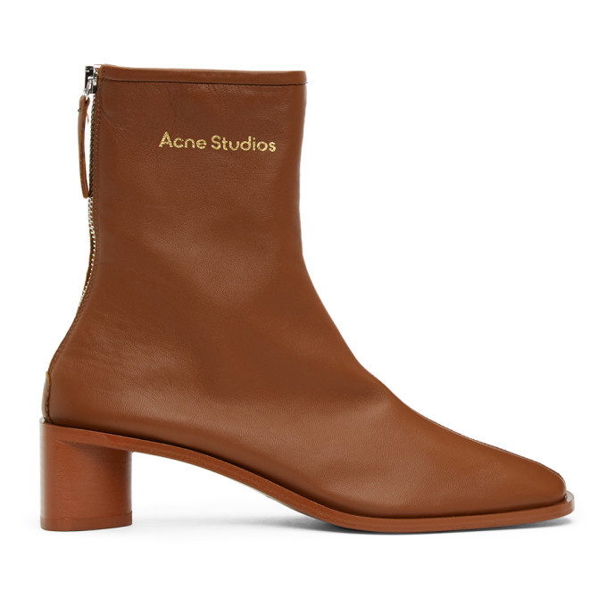 Acne Studios Brown Branded Heeled Boots