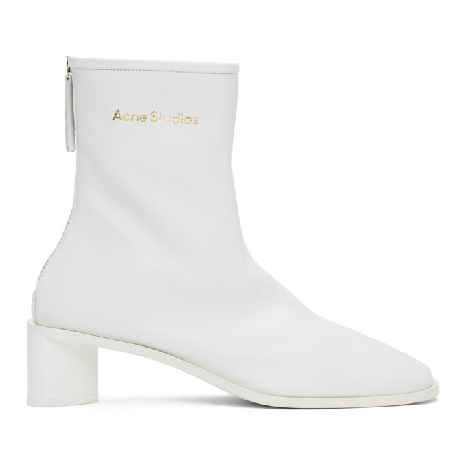 Acne Studios White Branded Heeled Boots