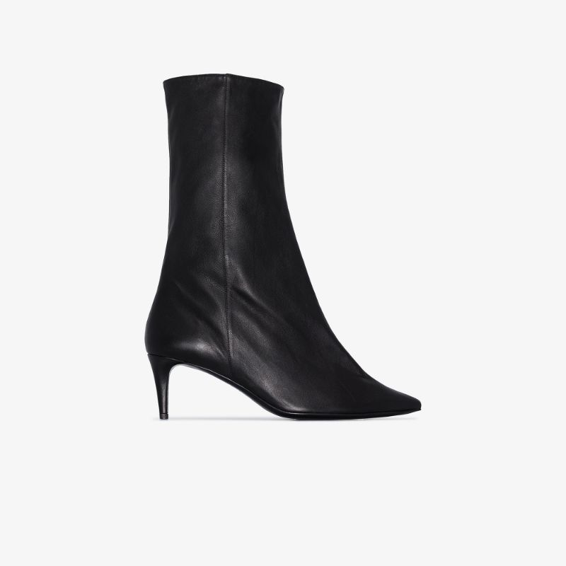 Acne Studios black beau 70 pointed toe leather boots