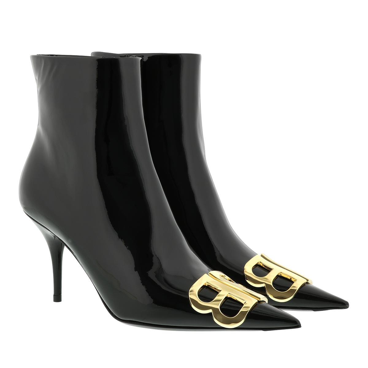Balenciaga Boots - BB Ankle Boots Patent Leather Black - in schwarz - für Damen