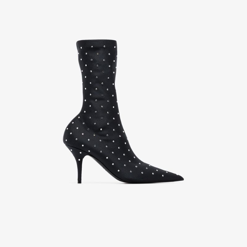 Balenciaga black knife 80 rhinestone ankle boots