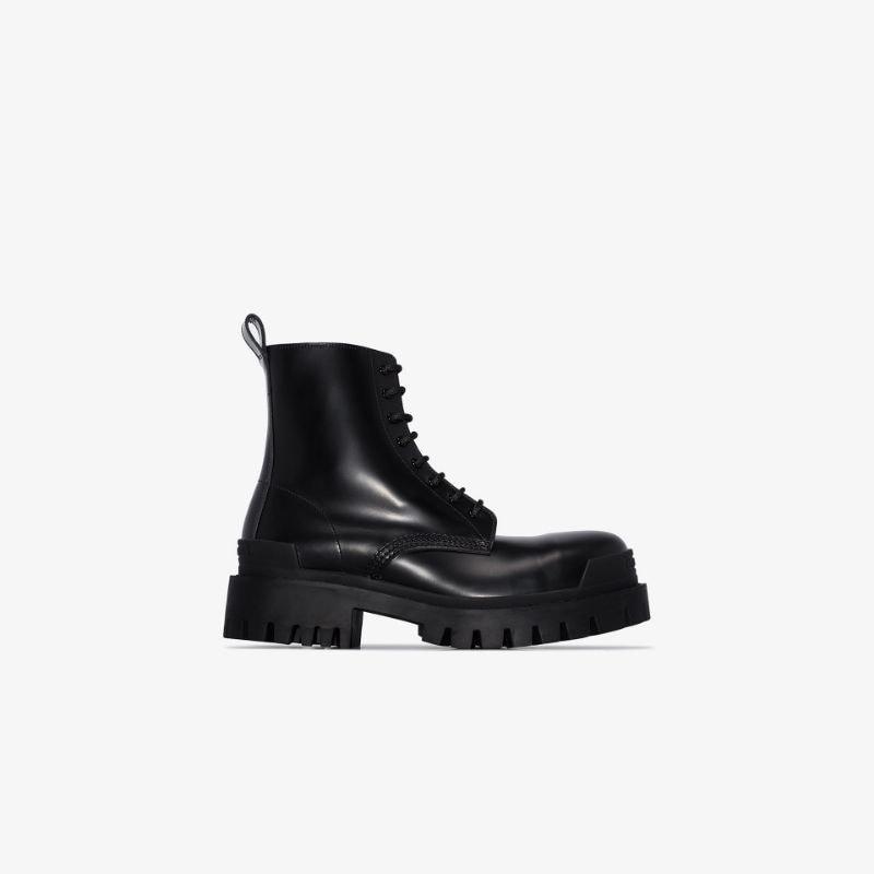 Balenciaga black strike lace-up ankle boots