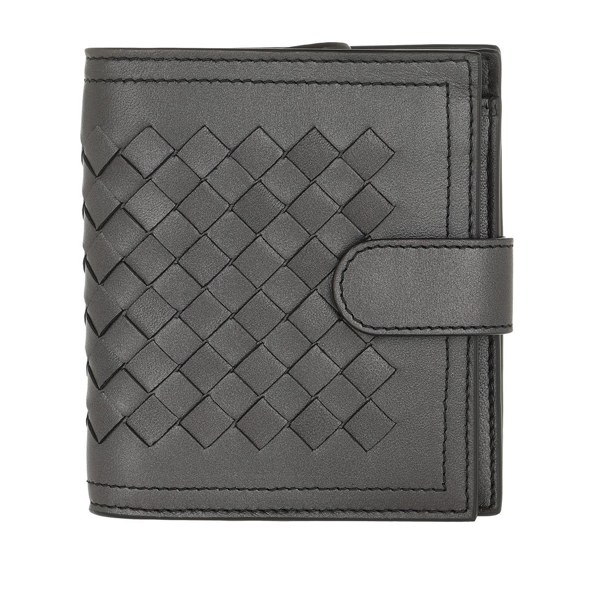 Bottega Veneta Portemonnaie - Intrecciato Mini Wallet Nappa Antique Silver - in grau - für Damen
