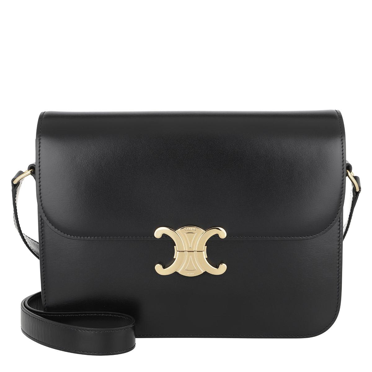 Celine Umhängetasche - Triomphe Bag Large Leather Black - in schwarz - für Damen