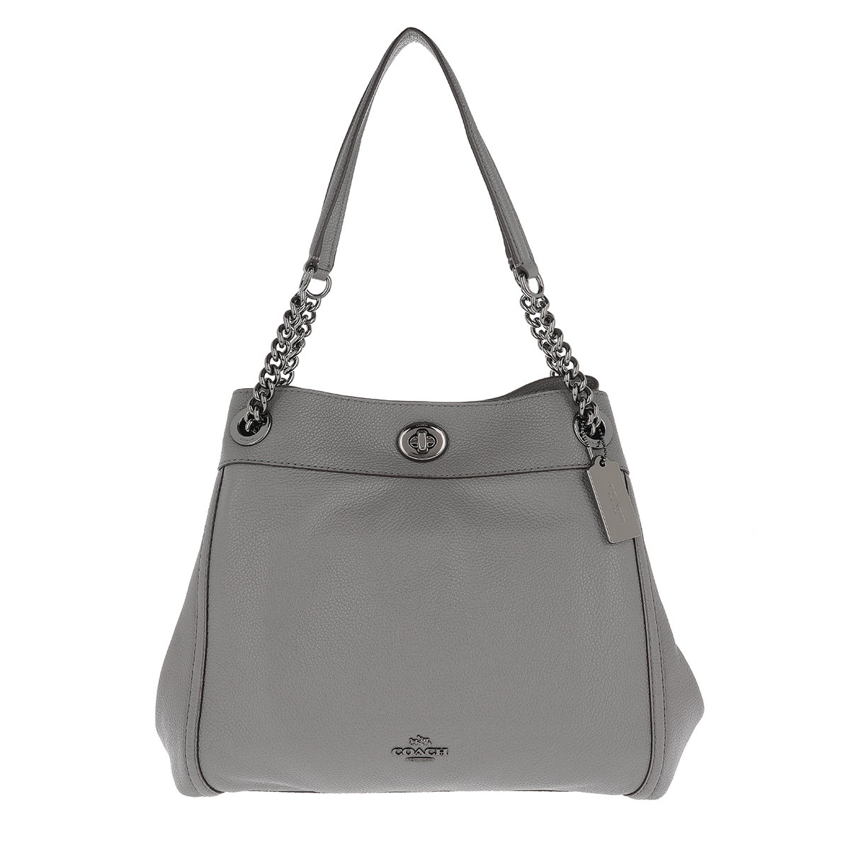 Coach Tote - Polished Pebbled Leather Turnlock Edie Shoulder Bag Heather Grey - in grau - für Damen