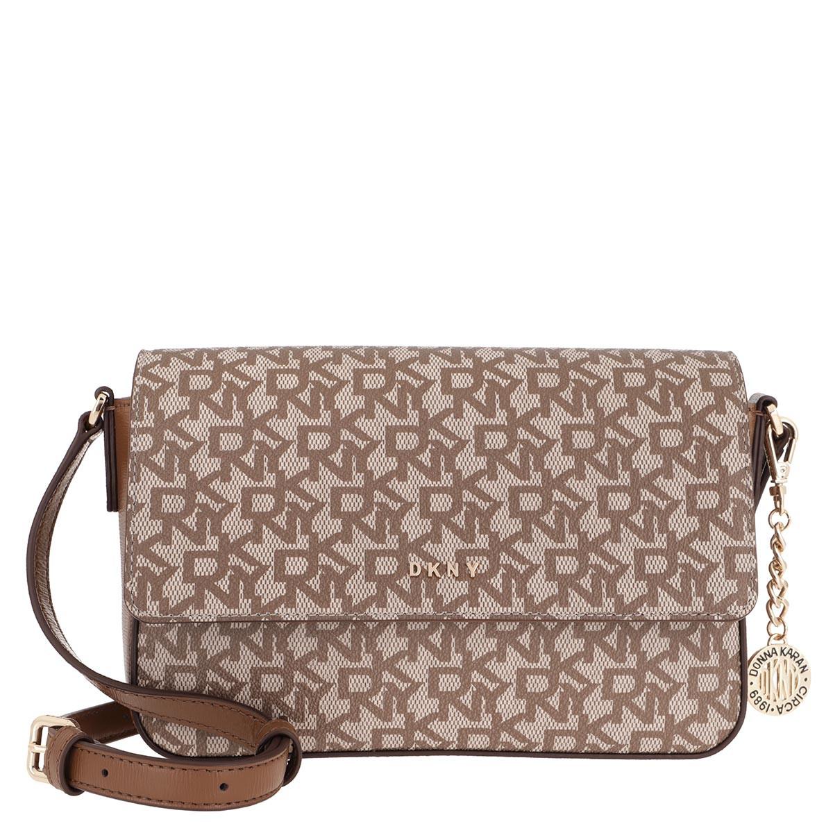 DKNY Umhängetasche - Brant Flap Crossbody Bag Chino Logo - in braun - für Damen