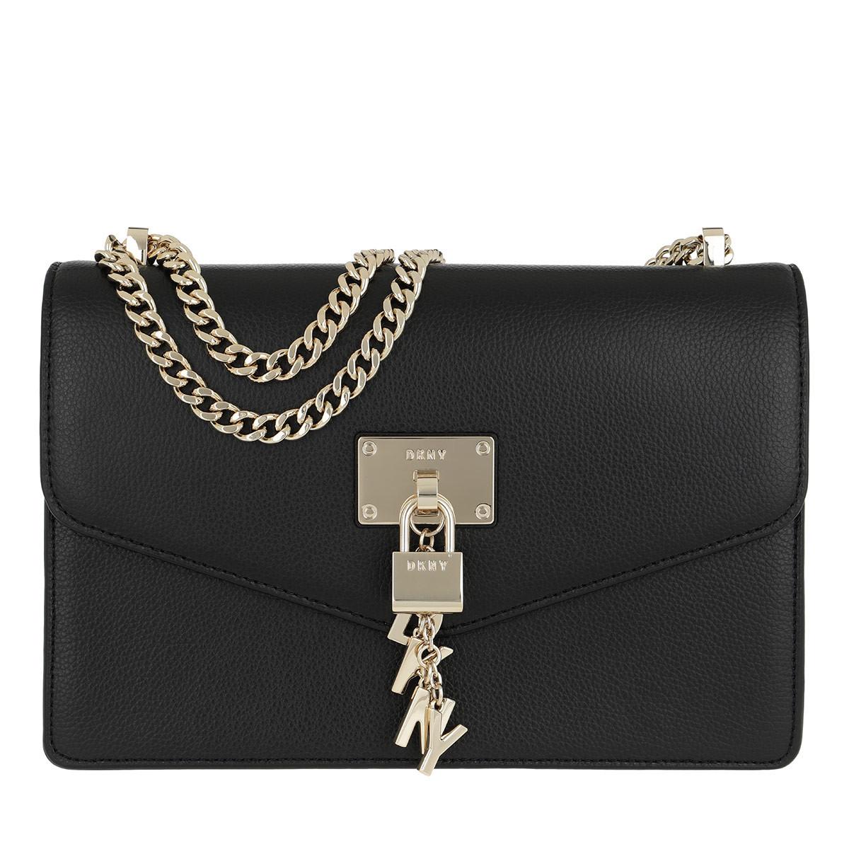 DKNY Umhängetasche - Elissa LG Shoulder Bag Black/Gold - in schwarz - für Damen