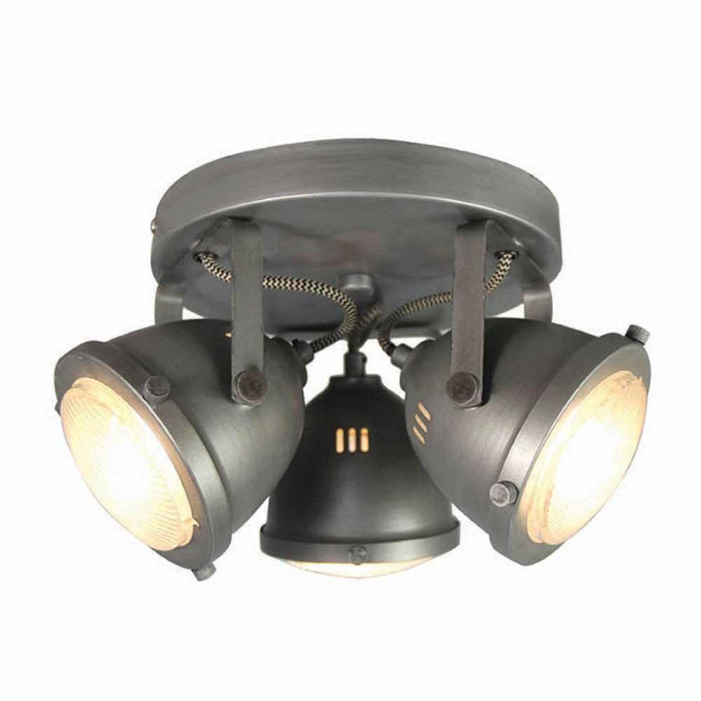 Deckenlampe in Grau Metall und Glas