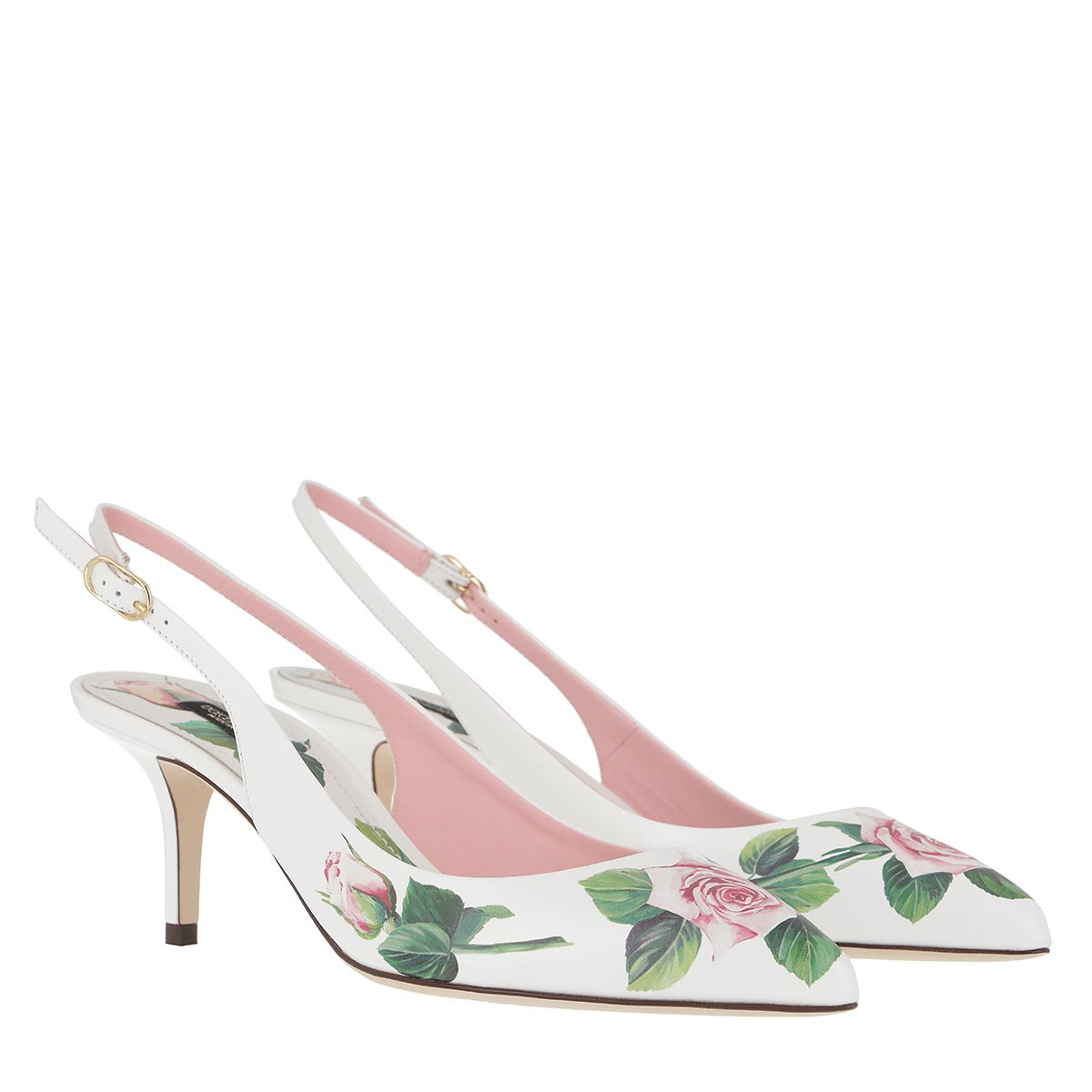 Dolce&Gabbana Pumps - Slingback Pumps Calf Leather Black/Roses - in weiß - für Damen