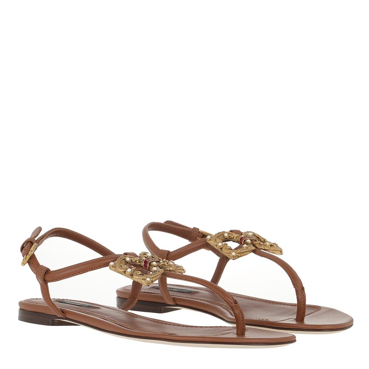 Dolce&Gabbana Sandalen - Logo Thong Sandals Leather Brown - in braun - für Damen