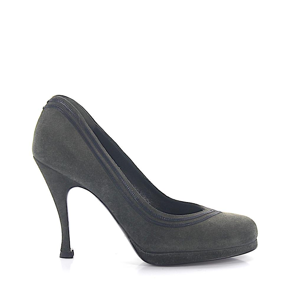 High Heels Pumps Kalbsleder Veloursleder dunkelgrau schwarz