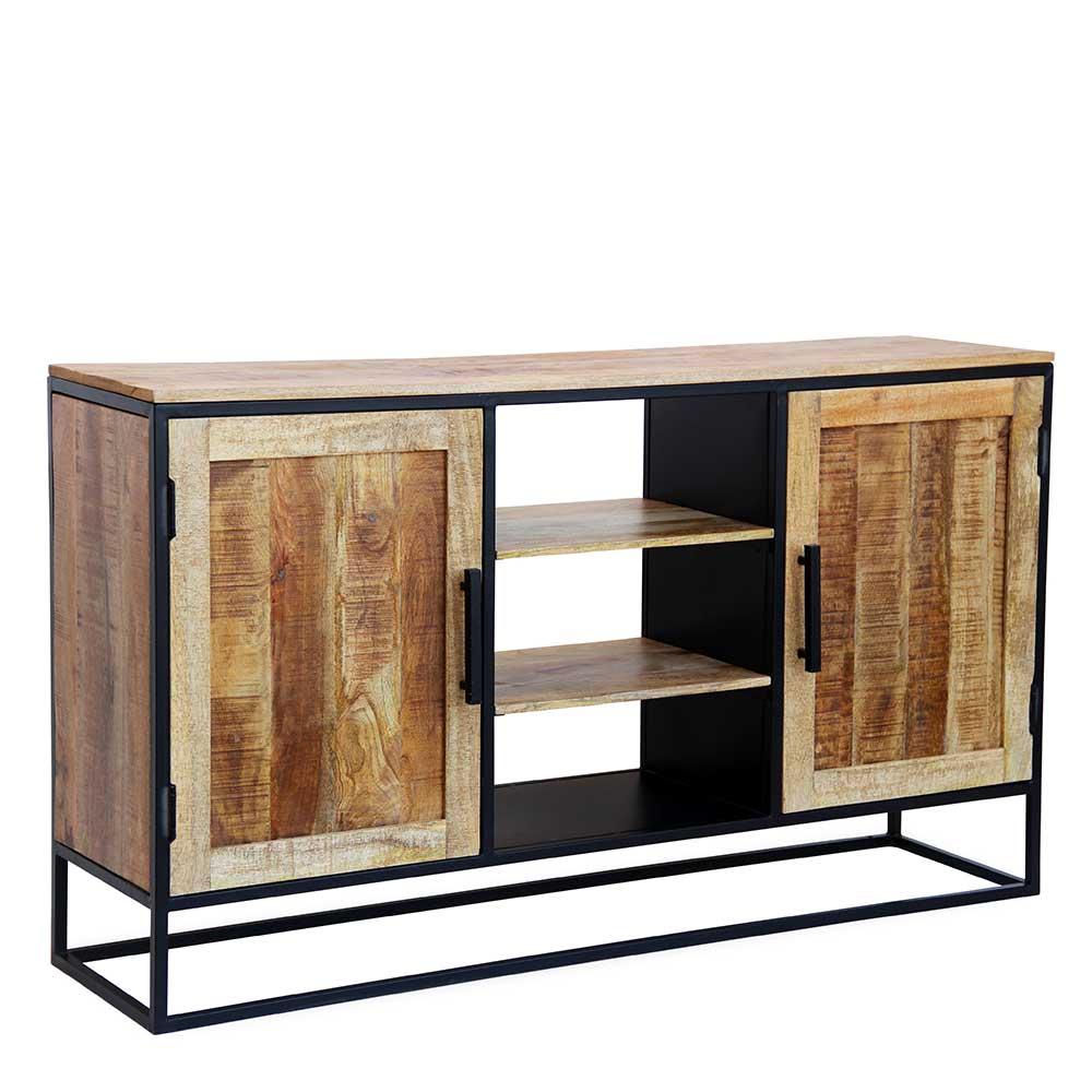 Industry Design Sideboard aus Mangobaum Massivholz und Eisen 160 cm breit
