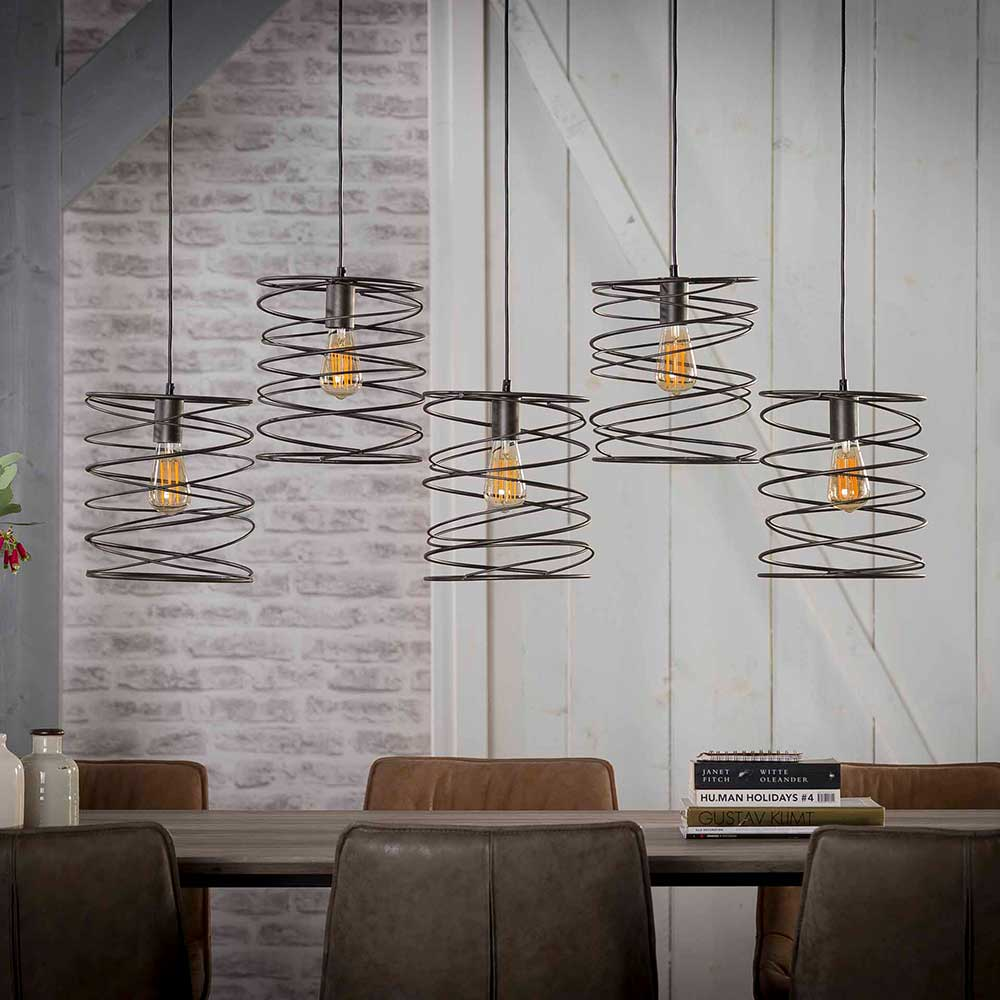 Industry Esszimmerlampe in Anthrazit 125 cm breit