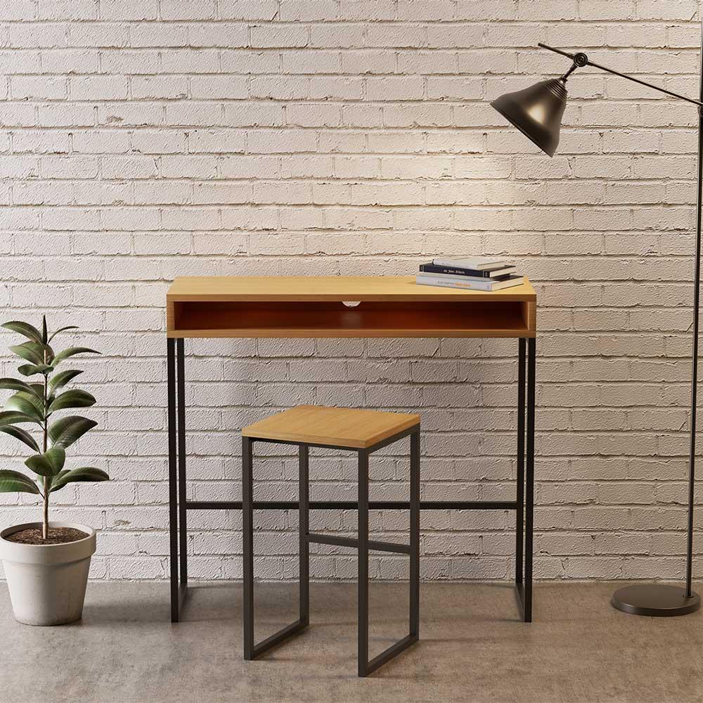 Loft Schreibtisch mit Eiche furniert schwarzem Bügelgestell