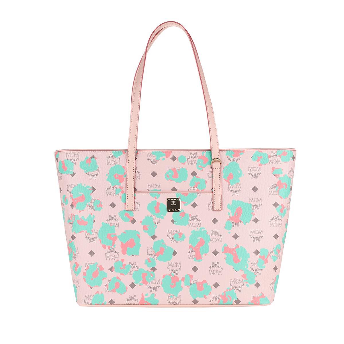 MCM Shopper - Anya Floral Leopard Shopping Bag Medium Powder Pink - in rosa - für Damen