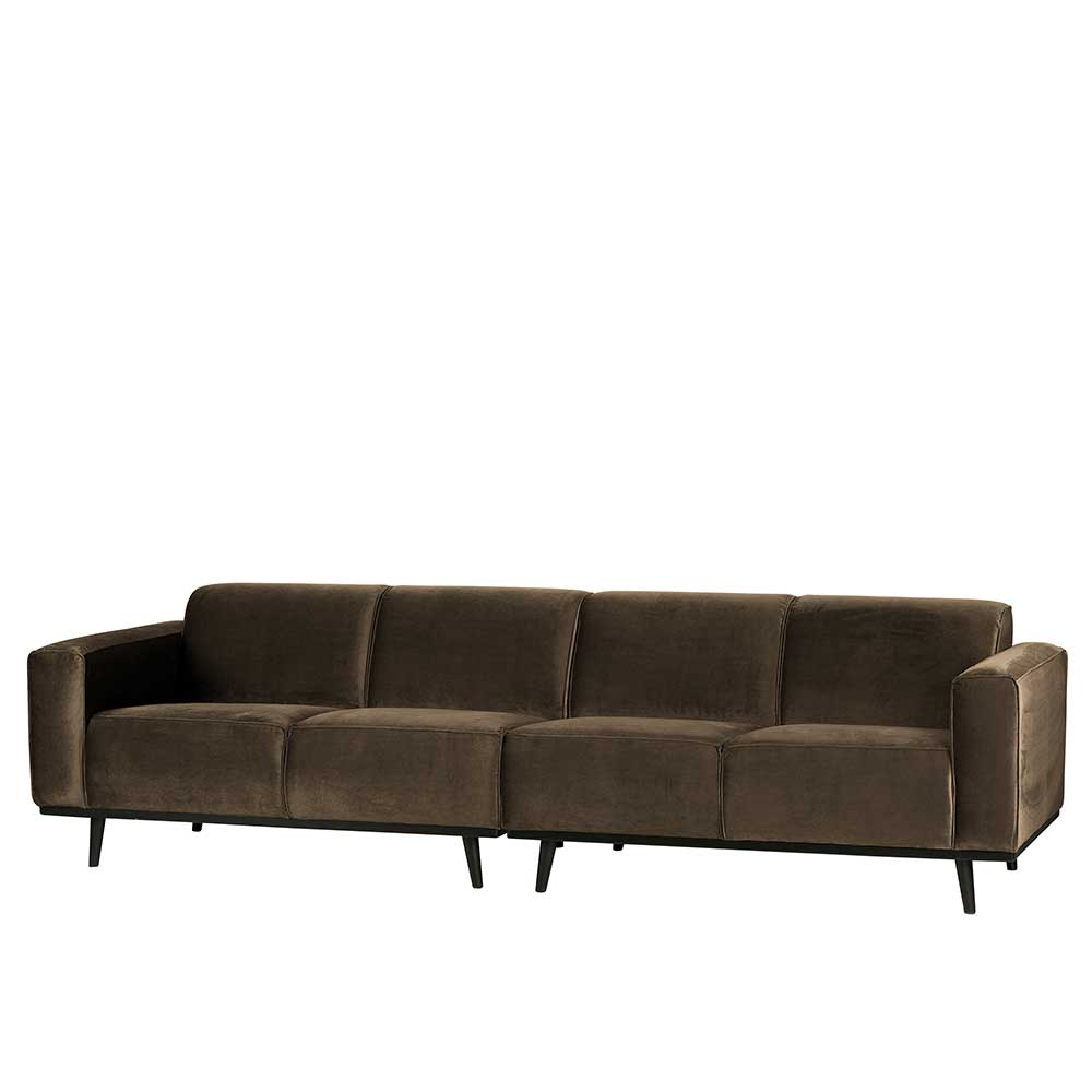 Retro Couch in Taupe Samt Federkern