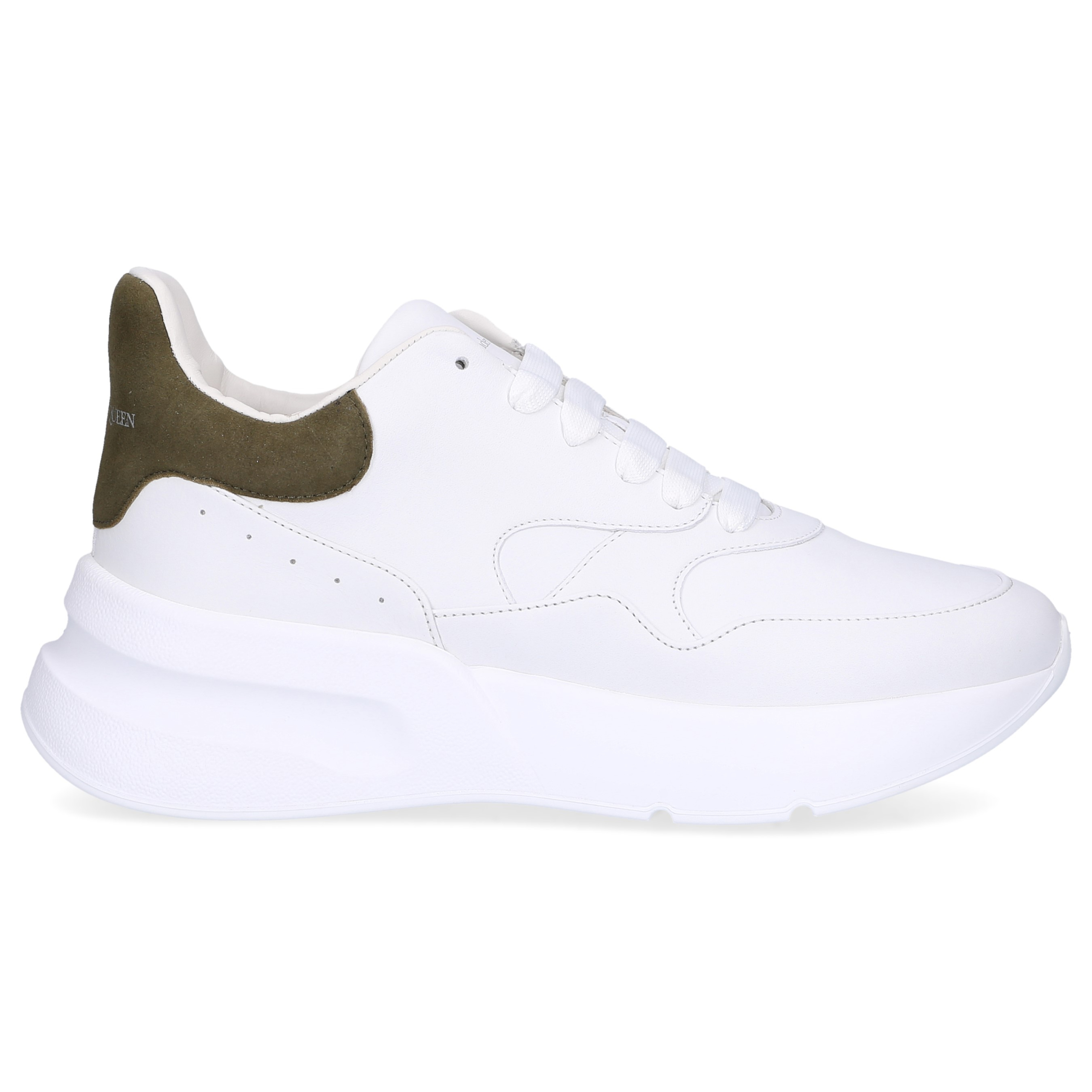 Sneaker low JOEY Nappaleder Logo weiß khaki