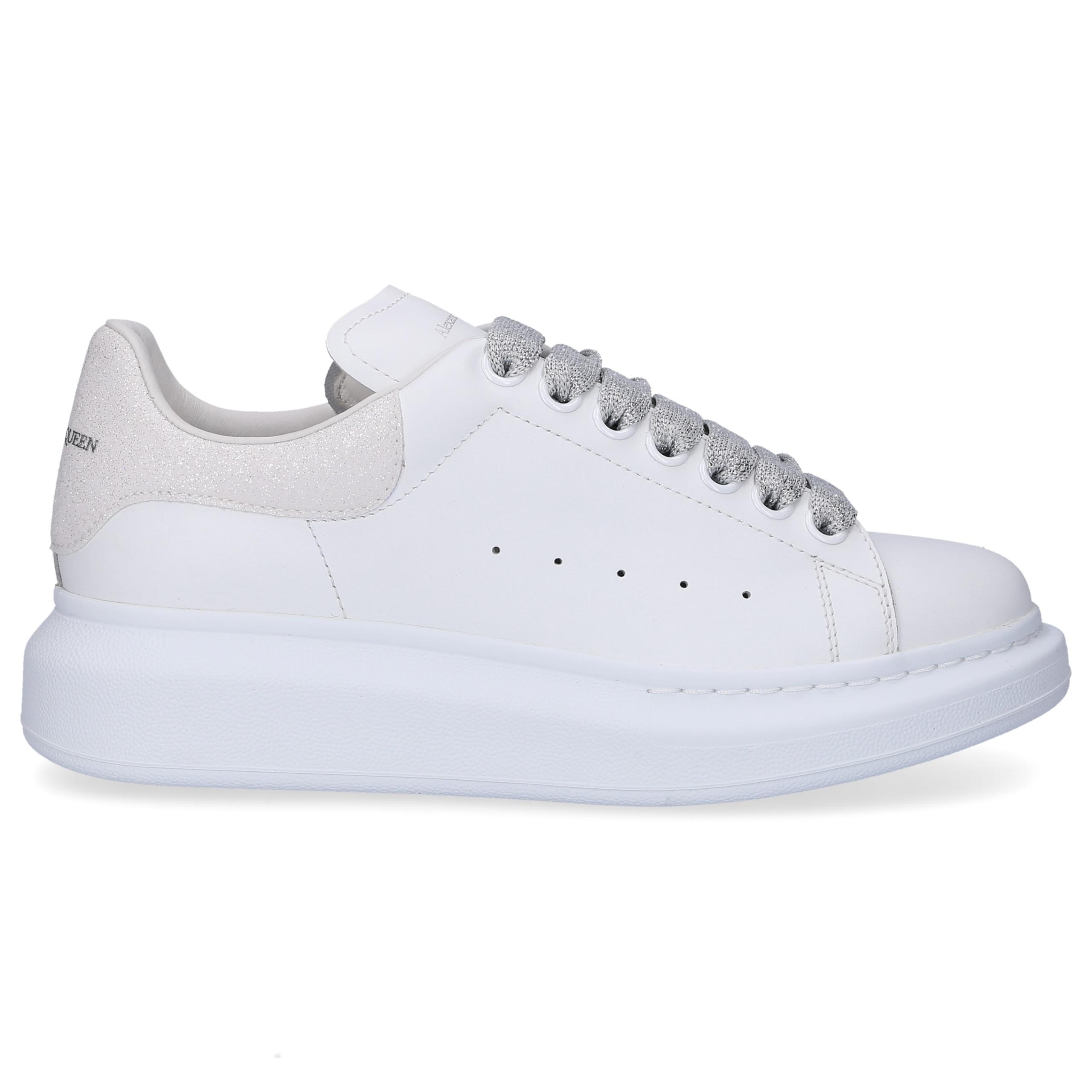 Sneaker low LARRY Kalbsleder Logo Glitzer weiß silber