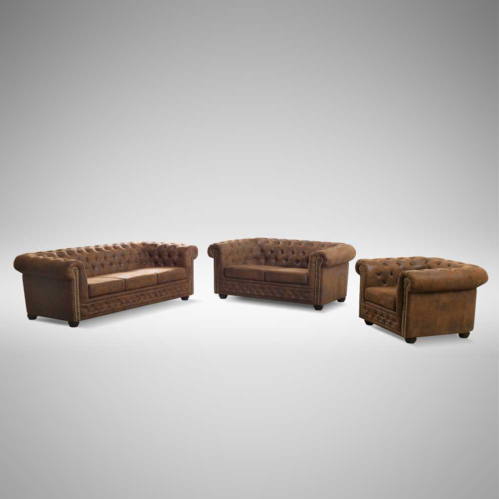 Sofa Garnitur in Braun Chesterfield Optik (3-teilig)