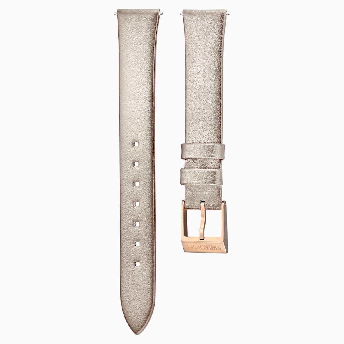 Swarovski 12mm Watch strap, Leather, Light gray, Rose-gold tone plated