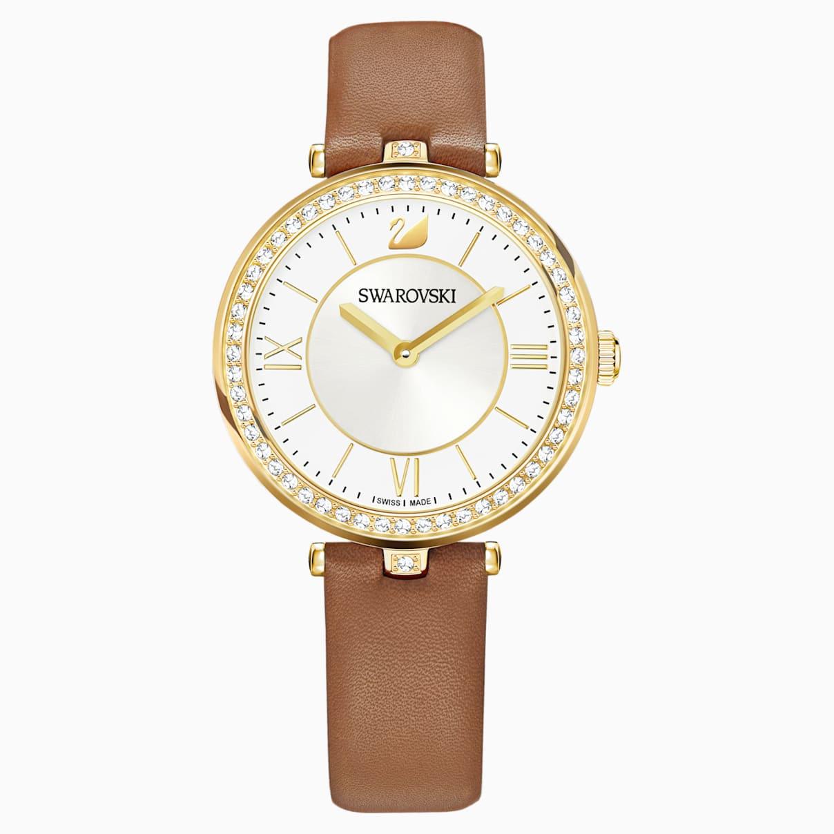 Swarovski Aila Dressy Lady Watch, Leather strap, Brown, Gold-tone PVD