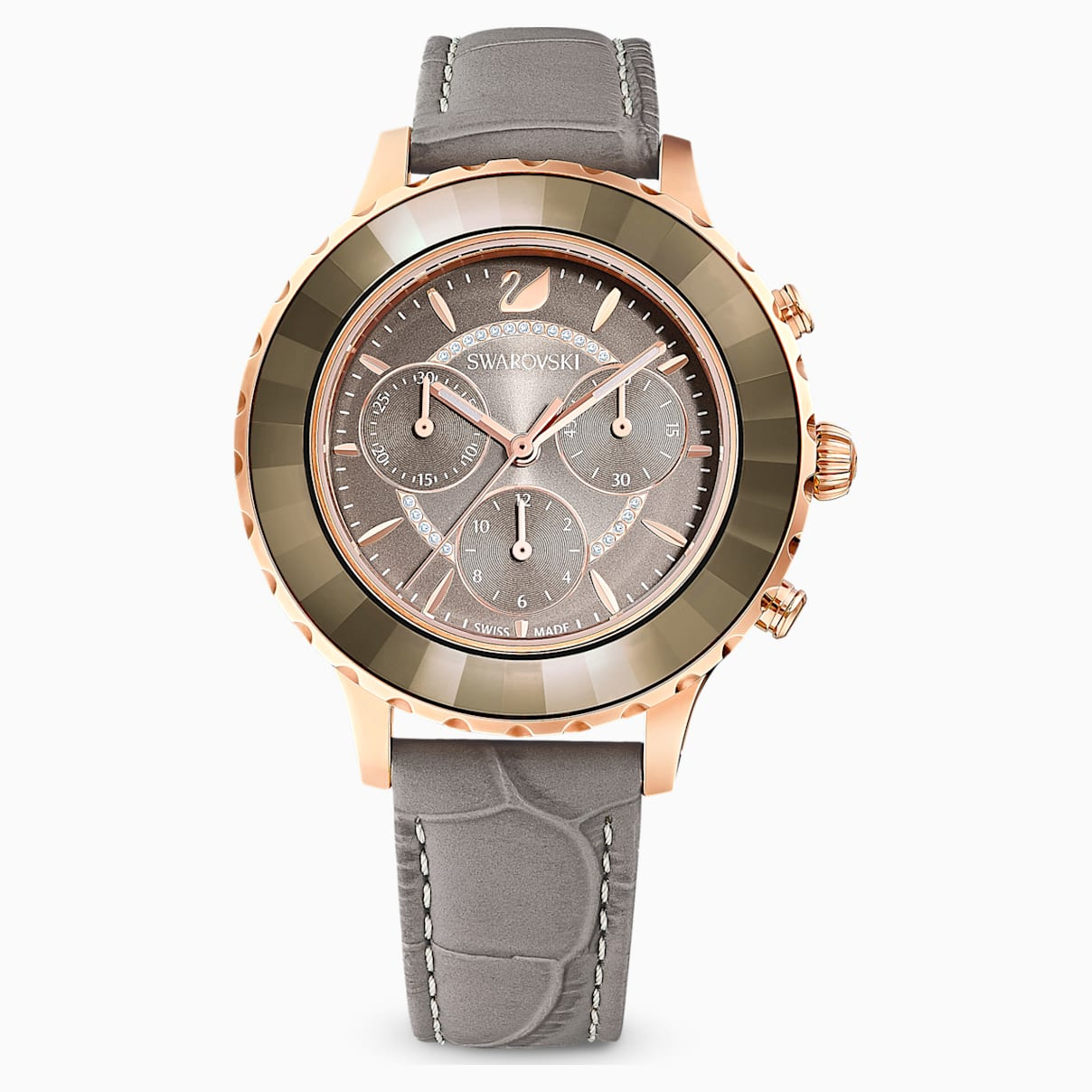 Swarovski Octea Lux Chrono Watch, Leather Strap, Gray, Rose-gold tone PVD