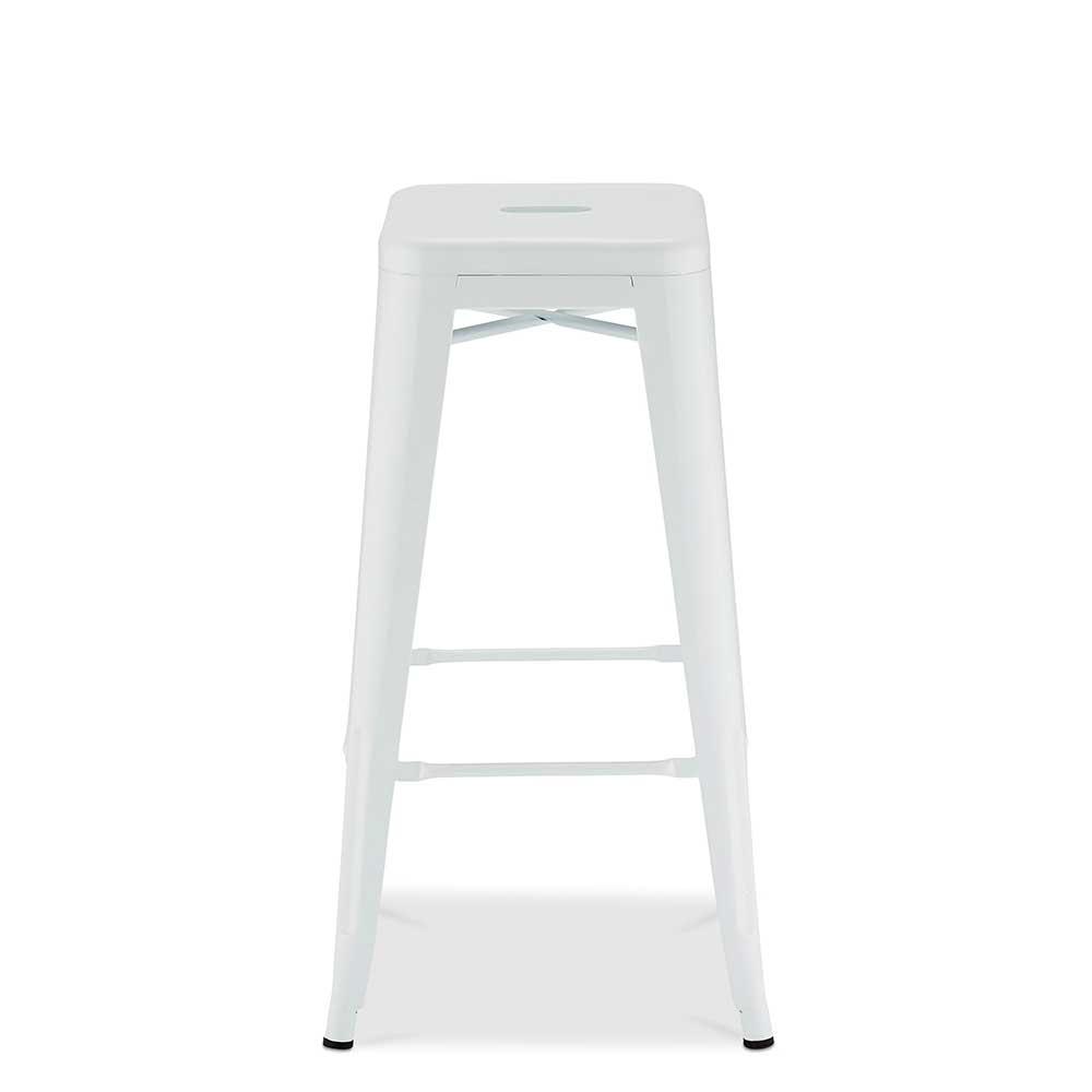 Weiße Barhocker aus Stahl Industriedesign (4er Set)