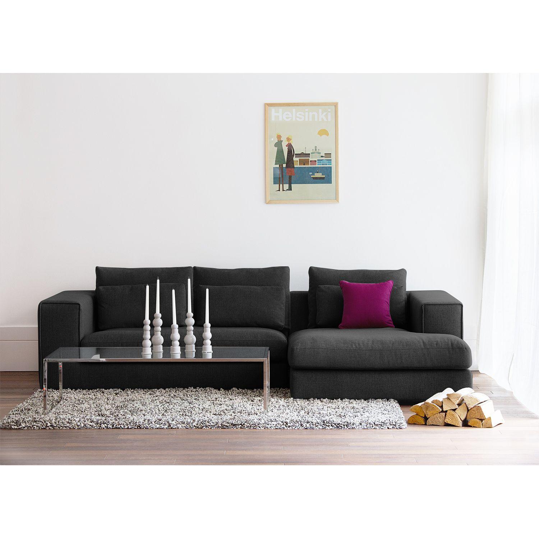 home24 Fredriks Ecksofa Columbia 2-Sitzer Anthrazit Webstoff 284x84x176 cm